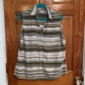 Sleeveless striped blouse